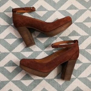 Madewell 1937 Highgate Suede Ankle Strap Heel Sz 6